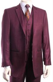 Mens 2 Button Athletic Cut Regular Fit Suit Burgundy ~ Wine ~