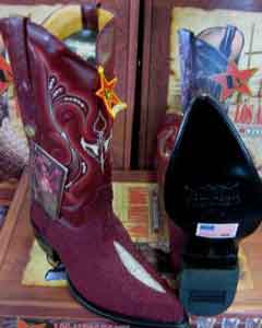 Altos Burgundy ~ Maroon ~ Wine Color Genuine Stingray mantarraya skin Single Stone Western Cowboy Boot