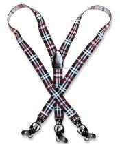 Mens Design Burgundy ~ Maroon ~ Wine Color White Suspenders Y