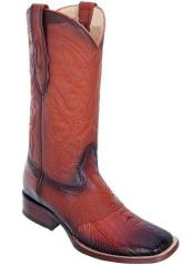 Los Altos Wide Square Toe Ostrich Leg Boots W/Saddle Vamp Burnished