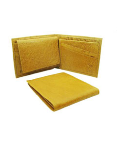 Genuine Exotic Animal Skin Ostrich Wallet - Buttercup ID Holder Bifold Smooth Ostrich Leather
