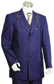 Button Blue Mens Suit