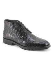 Mens Crocodile Boots - Ankle Boot Mens Black Five Eyelet Lacing Ankle