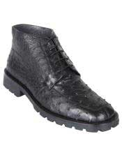 Mens Black Genuine Caiman Crocodile Hornback Demi Boots