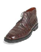 Altos Mens Brown Stylish Genuine Caiman Crocodile Belly Hornback Dress Ankle