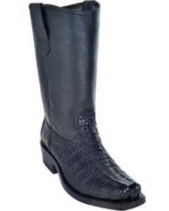 Caiman Tale Biker Boots With Leather Sole Black