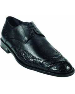 Mens Caiman (Gator) Belly Skin Black Dress Shoe