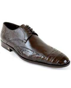 Caiman (Gator) Belly Skin Brown Dress Shoe