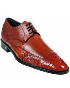 Mens Caiman (Gator) Belly Skin Cognac Dress Shoe