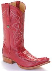 ~ World Best Alligator ~ Gator Skin Tail Vintage Riding Red Los Altos Mens Western Boots Cowboy