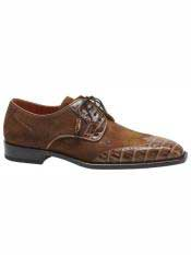 Brand Camel ~ Beige Genuine Crocodile / Suede Wingtip Oxford Shoes