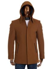 Mens Camel Brown Zip Up Closure Long Detachable Hoodie Mandarin Collar Wool Coat