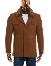 Mens Camel Brown Button Up Closure Fluffy Collar Long Wool Coat