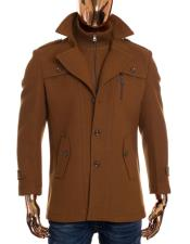 Mens Camel Brown Zip Up And Button Up Closure Long Wool Coat