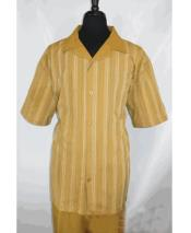 Mens Camel Short Sleeve 5 Buttons Stripe Pattern Shirt Walking Leisure Suit