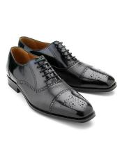 Black Cap Toe Calfskin with Contrast Deerskin Lace Up Leather Shoes Authentic Mezlan Brand