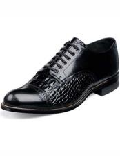 Adams Mens Black Crocodile Print Laceup Style Cap Toe Leather Shoes 10 days delivery