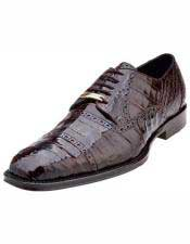 Mens Italian Brown Cap Toe Style Crocodile Shoes