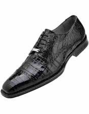 Mens Black Leather Crocodile Cap Toe Style Shoes