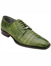 Mens Leather Emerald Green Cap Toe Style Crocodile Shoes