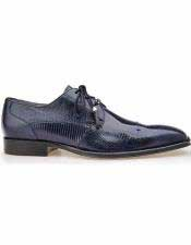 Mens Navy Cap Toe Style Teju Lizard Skin Laceup Leather Shoes