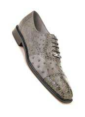 Onesto Mens Gray Ostrich Crocodile Cap Toe Shoes