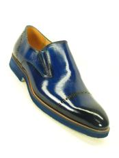 Mens Match Bottom Edge Slip On Cap Toe Style Cobalt Loafer