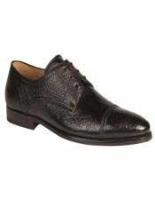 Brand Mens Capri Style Black Boarskin Shoes