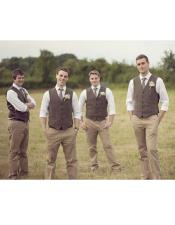 casual groomsmen attire Shirt + Pants + Dress Tuxedo Wedding Vest