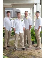 Mens Casual Groomsmen Attire Any White Linen Shirt & Tan or Black or White Pants Package Combo