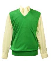 Mens 100% Acrylic Inserch Casual Wear Light Weight Green Sweater Vest Available in Big And Tall Sizes
