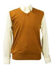 Mens 100% Acrylic Inserch Casual Wear Light Weight Solid Rust Sweater