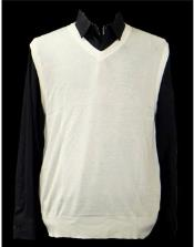 Mens 100% Acrylic Light Weight Casual Wear Solid White Sweater Available