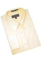 Champagne Cotton Blend Dress Shirt With Convertible Cuffs