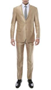 Mens Champagne Two Button Closure Sharkskin Slim Fitted Suit