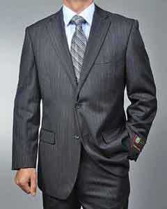 Mens Charcoal Grey Gray Pinstripe Stripe 2-button cheap discounted Suit