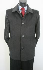 Dress Coat Valenti Designer Wool & Cashmere Single breasted Car Style Charcoal