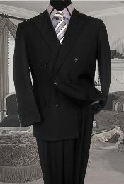 Charcoal Classic Double Breasted Solid Color Suit With Side Vent Jacket