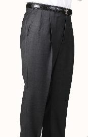 Polyester Charcoal Somerset Double-Pleated Slacks / Dress Pants Trouser Harwick Made