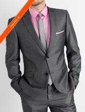 Charcoal Slim Fit Cheap Priced Business Suits Clearance Sale