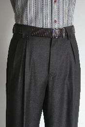 Mens Wide Leg Pants Charcoal unhemmed