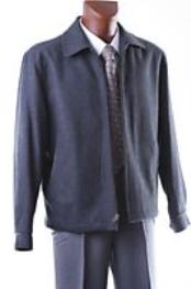 DRESS COAT CHARCOAL ZIPPER SHORT WINTER JACKET