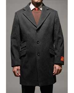Charcoal Wool and Cashmere Mens Carcoat ~ Designer Mens Wool Peacoat
