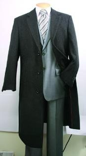 Dress Coat Charcoal Fully Lined Wool Blend Top Coat Mens Overcoat