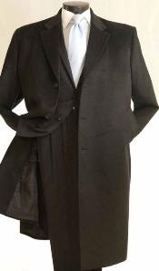 Dress Coat 3/4 Length Car Coat in Cashmere Feel Charcoal