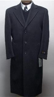 45 Inch Charcoal Gray classic model features button front Wool&Cashmere