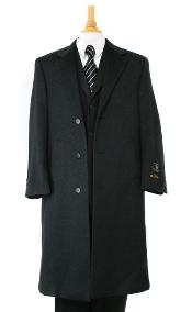 Charcoal Gray soft finest grade Cashmere&Wool Overcoat Winter Mens Topcoat Sale