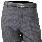 Mens Wool Charcoal Flat Front Plaid Pant