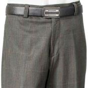 Charcoal Wool Flat Front Plaid Pant With Back Pockets unhemmed unfinished