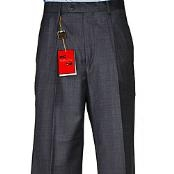 Mens Charcoal Grey Wool Single-pleat Pants unhemmed unfinished bottom - Cheap Priced